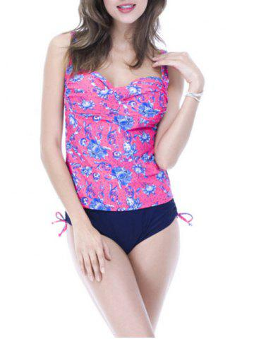 Unique Sweetheart Neck Print Underwire Padded Slimming Tankini