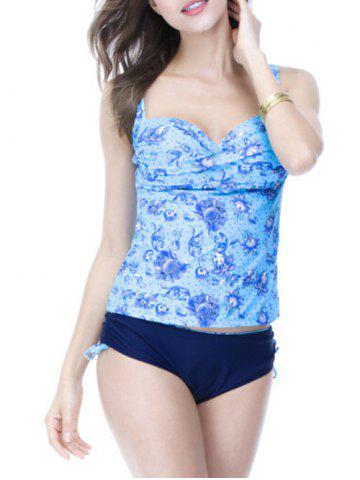 Best Sweetheart Neck Print Underwire Padded Slimming Tankini