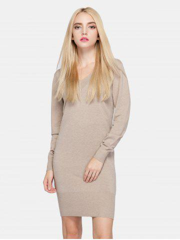 Sale Long Sleeve Fitted Knit Jumper Dress KHAKI ONE SIZE