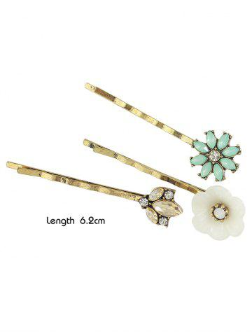 Buy Rhinestone Floral Hairpins Jewelry Set - GOLDEN  Mobile