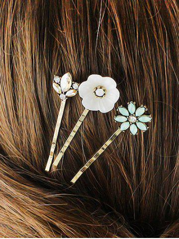 Discount Rhinestone Floral Hairpins Jewelry Set GOLDEN