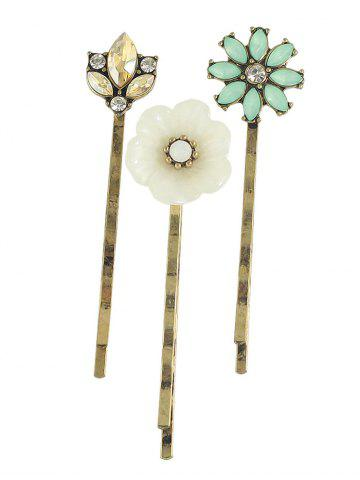 Outfits Rhinestone Floral Hairpins Jewelry Set - GOLDEN  Mobile