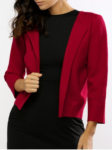 Online Collarless Knitted Ruched Short Cardigan