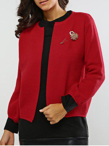 Outfits Puff Sleeves Brooch Embellished Knitted Cardigan