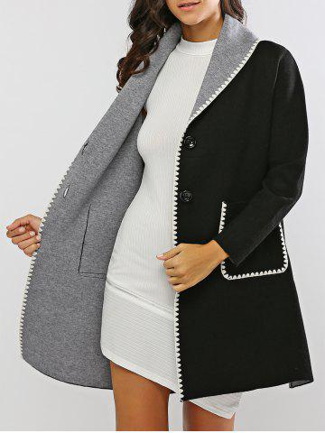 Store Covertible Contrast-Trim Long Cardigan BLACK ONE SIZE