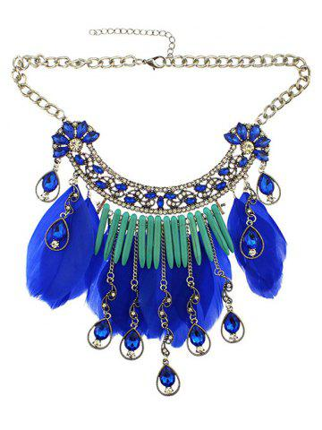 Affordable Faux Crystal Water Drop Feather Necklace SAPPHIRE BLUE