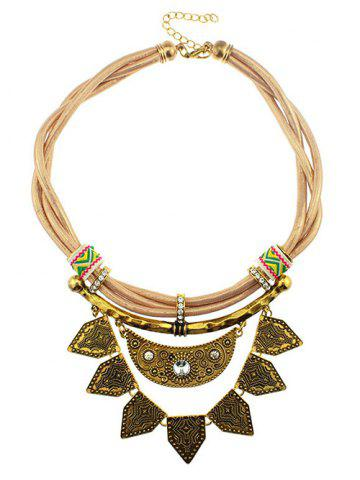 Fashion Rhinestone Faux Leather Moon Geometric Necklace YELLOW