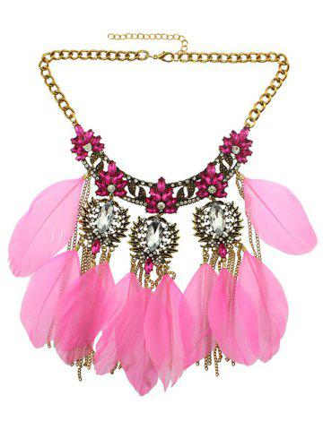 Sale Rhinestone Faux Crystal Feather Leaf Necklace LIGHT PINK