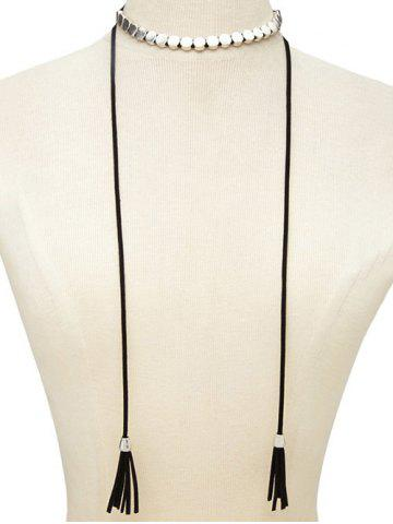 Outfit Faux Leather Tassel Bolo Tie Choker