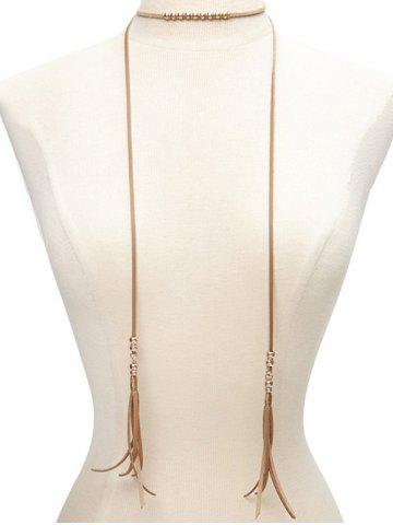 Hot Faux Leather Beaded Bolo Tie Choker