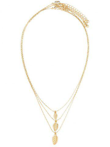 Cheap Multilayered Alloy Leaf Pendant Necklace