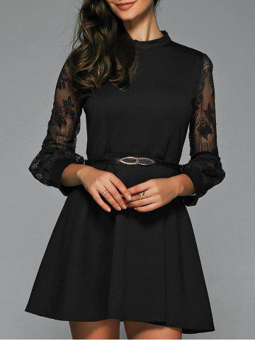 Latest A Line Sheer Dress With Belt