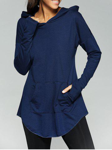 Affordable Kangaroo Pocket Tunic Hoodie - XL PURPLISH BLUE Mobile