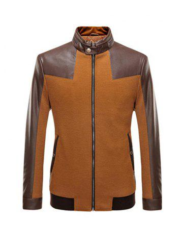 Chic Stand Collar Leather Spliced Jacket ODM Designer - 2XL BROWN Mobile