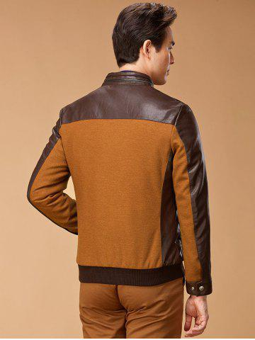 Cheap Stand Collar Leather Spliced Jacket ODM Designer - 2XL BROWN Mobile