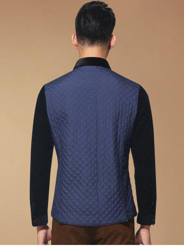 Outfit Single Breasted Argyle Quilted Spliced Jacket ODM Designer - 3XL PURPLISH BLUE Mobile