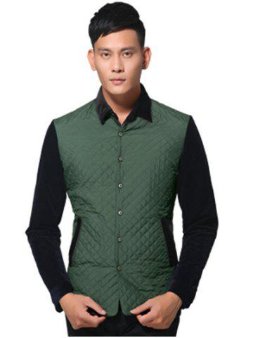 Outfit Single Breasted Argyle Quilted Spliced Jacket ODM Designer - 3XL GREEN Mobile