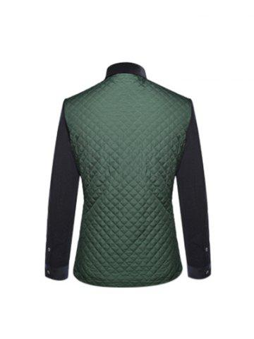 Cheap Single Breasted Argyle Quilted Spliced Jacket ODM Designer - 3XL GREEN Mobile