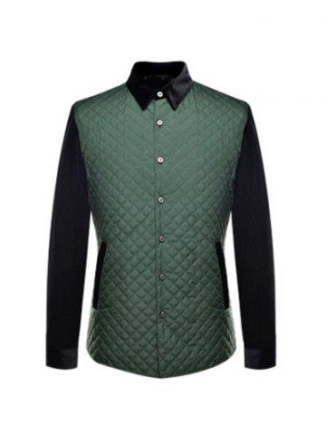 Simple Veste boutonnage Argyle Quilted épissage