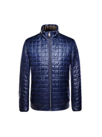 Geometric Pattern Rib Spliced Down Jacket