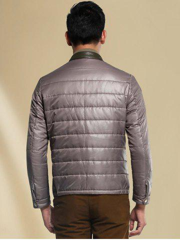 Chic Stand Collar Panel Padded Jacket ODM Designer - XL GRAY Mobile