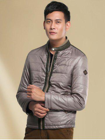 Chic Stand Collar Panel Padded Jacket ODM Designer - M GRAY Mobile