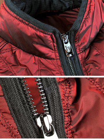 Hot Geometric Quilted Wadded Jacket ODM Designer - XL DEEP RED Mobile