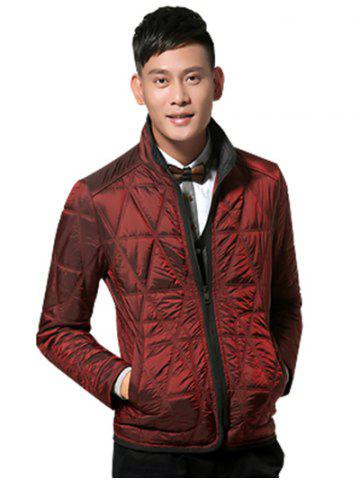 Online Geometric Quilted Wadded Jacket ODM Designer - XL DEEP RED Mobile