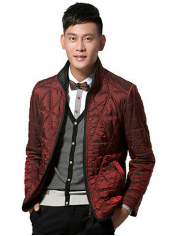 Outfit Geometric Quilted Wadded Jacket ODM Designer - M DEEP RED Mobile