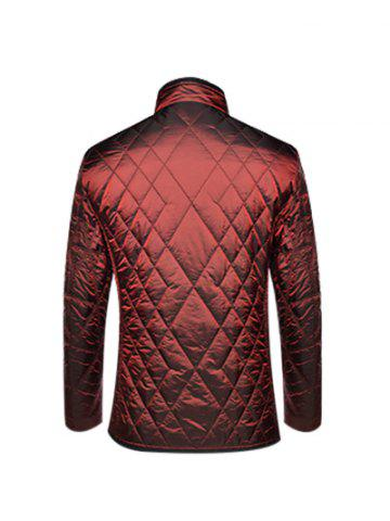 Fashion Geometric Quilted Wadded Jacket ODM Designer - M DEEP RED Mobile