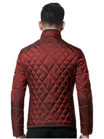 Chic Geometric Quilted Wadded Jacket ODM Designer - M DEEP RED Mobile