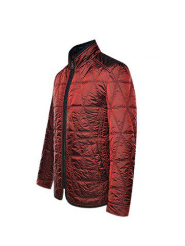 Hot Geometric Quilted Wadded Jacket ODM Designer - M DEEP RED Mobile