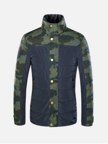 Fashion Stand Collar Camo Panel Jacket ODM Designer CAMOUFLAGE L
