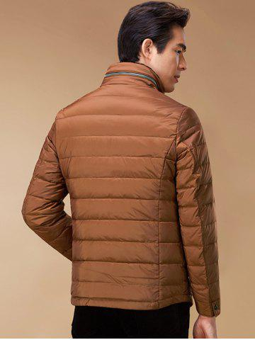 Cheap Stand Collar Geometric Padded Jacket ODM Designer - 3XL BROWN Mobile