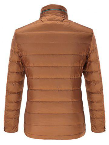 Unique Stand Collar Geometric Padded Jacket ODM Designer - 3XL BROWN Mobile