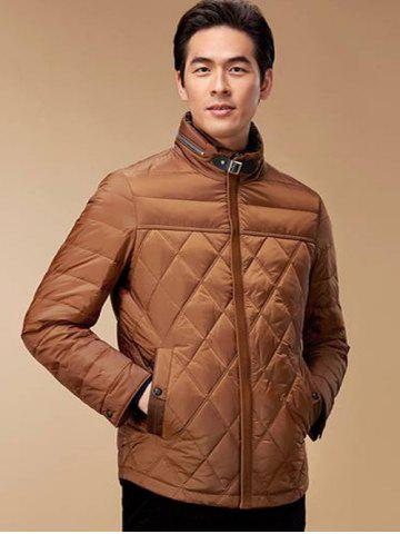 Cheap Stand Collar Geometric Padded Jacket ODM Designer - 2XL BROWN Mobile