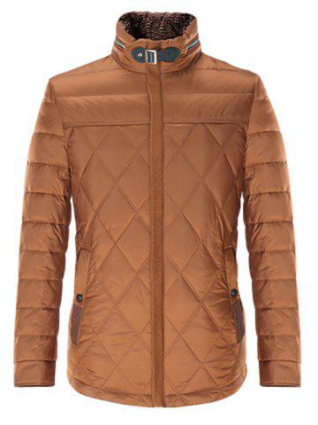 Cheap Stand Collar Geometric Padded Jacket ODM Designer BROWN L