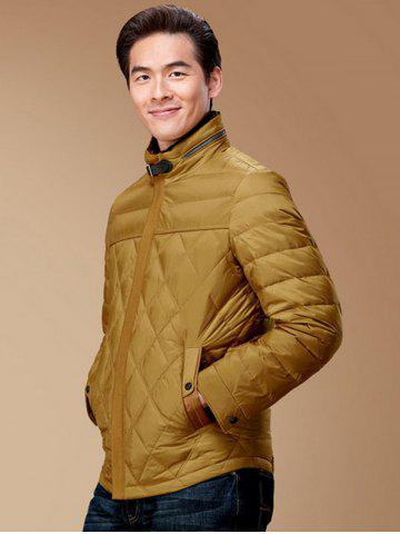 Buy Stand Collar Geometric Padded Jacket ODM Designer - 3XL GINGER Mobile