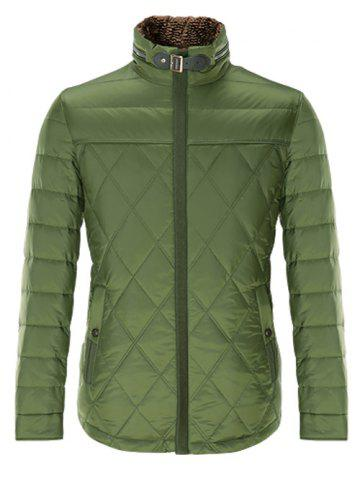 Trendy Stand Collar Geometric Padded Jacket ODM Designer - 2XL GREEN Mobile