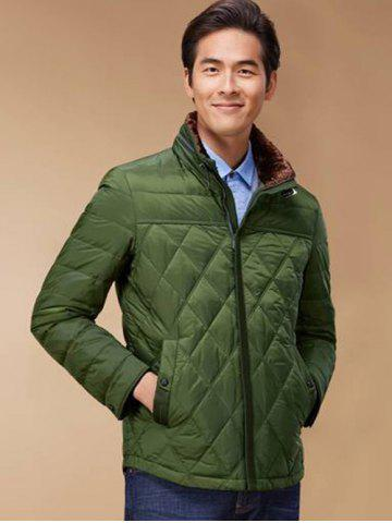 Unique Stand Collar Geometric Padded Jacket ODM Designer - 2XL GREEN Mobile