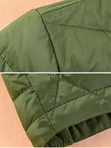 Affordable Stand Collar Geometric Padded Jacket ODM Designer - XL GREEN Mobile