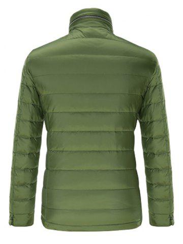 Unique Stand Collar Geometric Padded Jacket ODM Designer - XL GREEN Mobile
