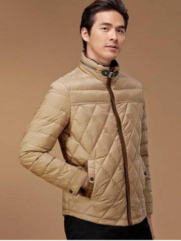 Shop Stand Collar Geometric Padded Jacket ODM Designer - 2XL KHAKI Mobile