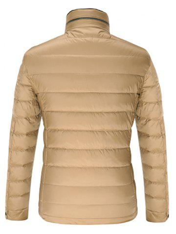 Trendy Stand Collar Geometric Padded Jacket ODM Designer - 2XL KHAKI Mobile