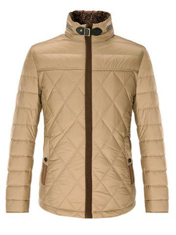 Shop Stand Collar Geometric Padded Jacket ODM Designer - L KHAKI Mobile