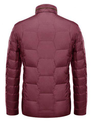 Fancy Zipper Up Geometric Padded Jacket ODM Designer - XL RED Mobile