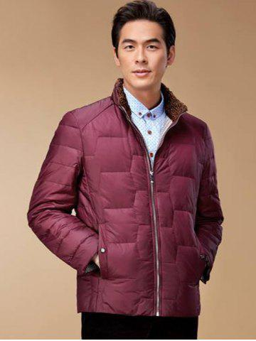 Store Zipper Up Geometric Padded Jacket ODM Designer - XL RED Mobile