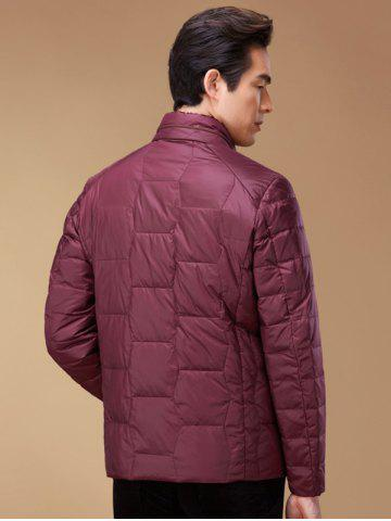 Shops Zipper Up Geometric Padded Jacket ODM Designer - XL RED Mobile