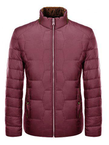 Zipper-Up géométrique Motif Down Jacket Rouge M