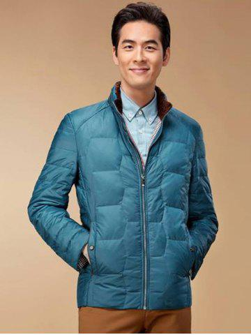 Affordable Zipper Up Geometric Padded Jacket ODM Designer - XL BLUE Mobile